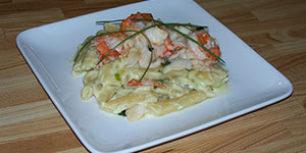 Recette de pâtes Penne Rigate aux crevettes et crabe